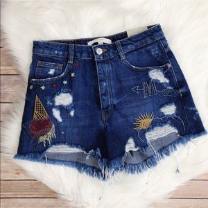 NEW✨Zara | high waisted embroidered shorts